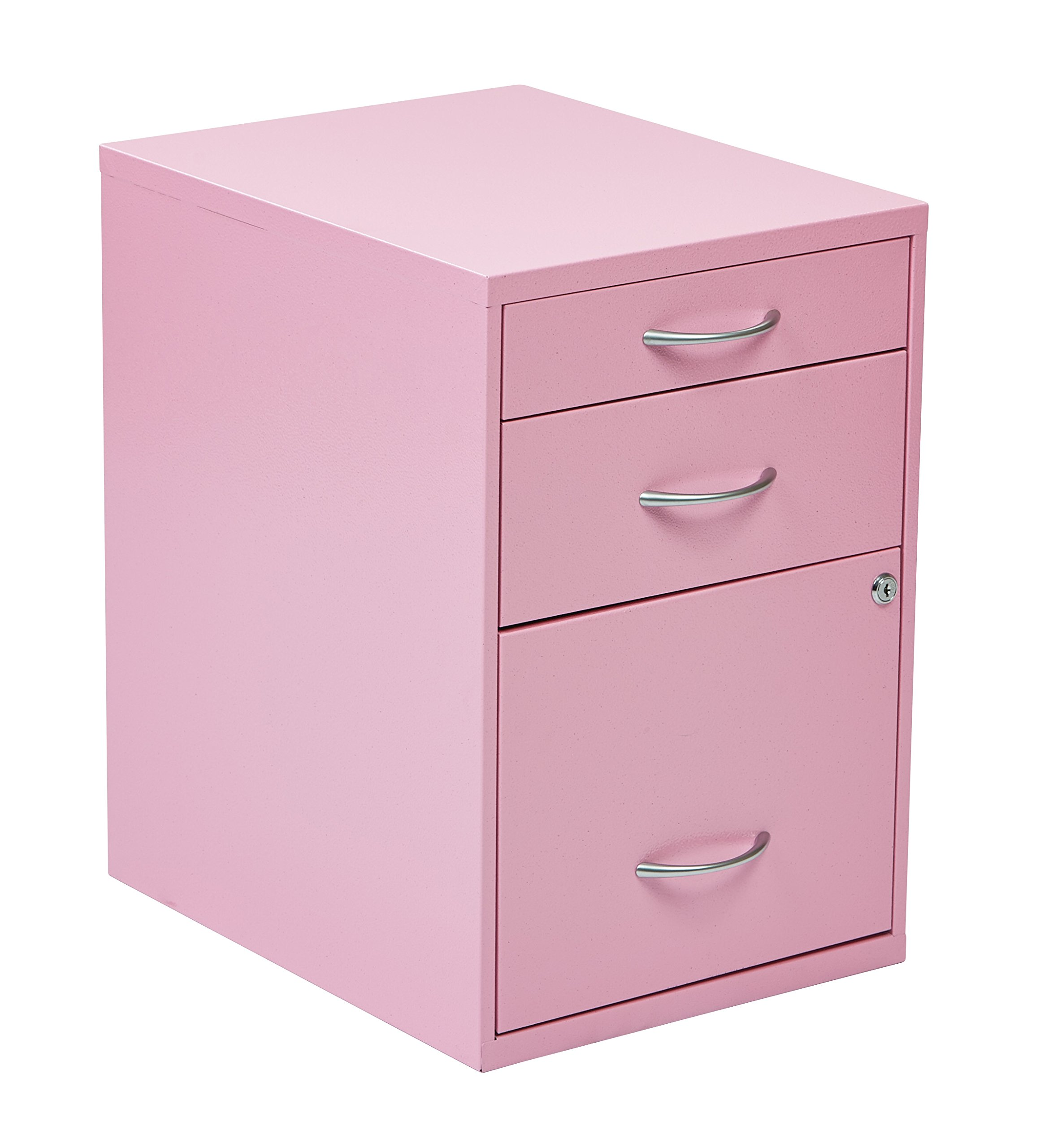 Office Star 3-Drawer Metal File Cabinet, Pink Finish