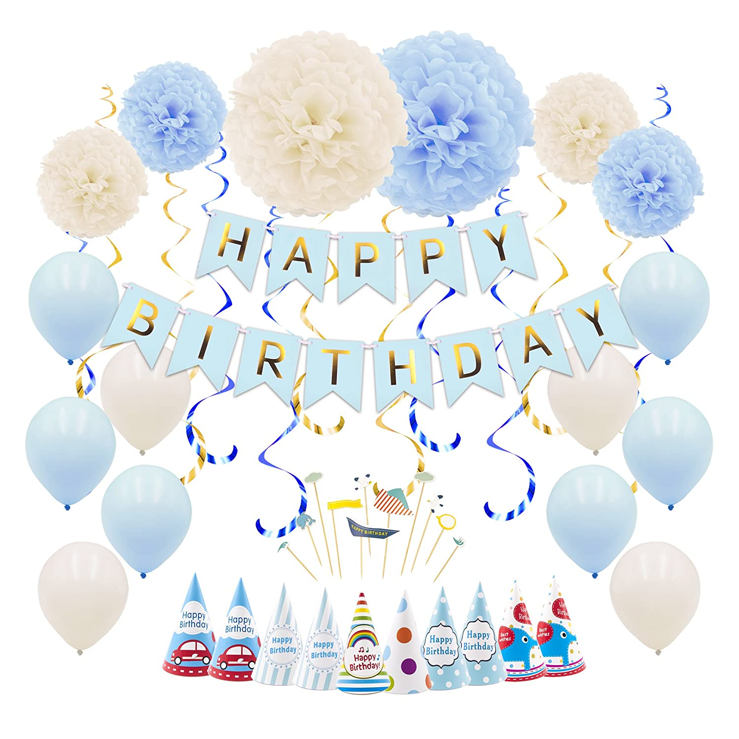 Hanging Swirls Blue Balloons Cake Flag Paper Flower Ball Ribbon MAPLE UK 49pcs Happy Birthday Decoration Supplies Party Decorations for Boys Men with Birthday Banner Paper Hats