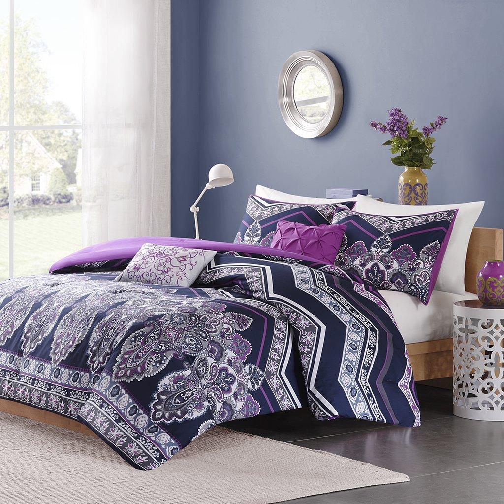 Intelligent Design Adley Comforter Set Full/Queen Size - Purple, Bohemian Paisley Chevron – 5 Piece Bed Sets – Ultra Soft Microfiber Teen Bedding for Girls Bedroom