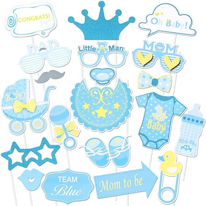 Konsait Baby Shower Photo Props(20Pcs), Glitter Its a Boy Baby Boy Photo Booth Props Kit for Baby Shower Birthday Girl Pink and Gold Gender Reveal ...