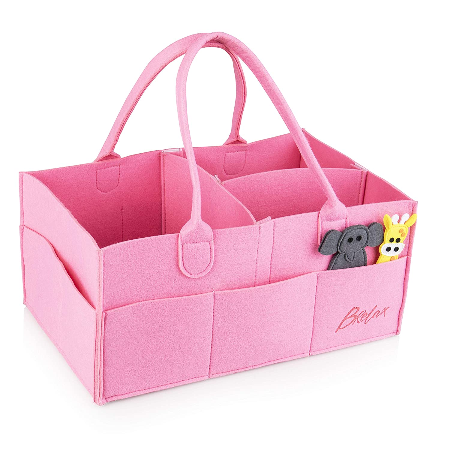 Baby Diaper Storage X-Large Pink Caddy Organizer: Changing Table and Nursery Bag Brelax