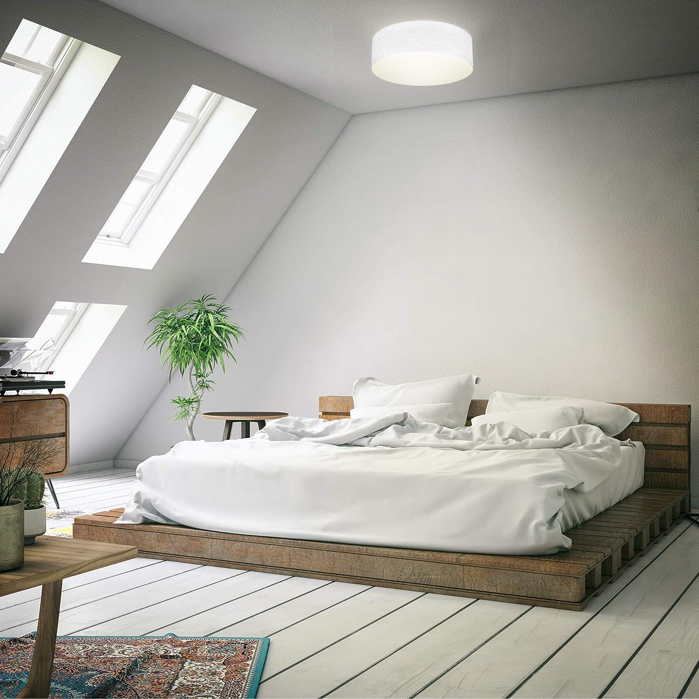 B.K.Licht I L/ámpara de techo I L/ámpara de techo de tela I L/ámpara de oficina I Pantalla textil I E27 I 1 llama I /Ø30cm I Negro I sin bombilla