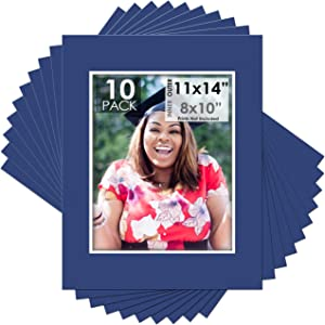 Mat Board Center, Pack of 10, 11x14 for 8x10 Dynamic Blue Color Mats - Acid Free, 4-ply Thickness, White Core - for Pictures, Photos, Framing