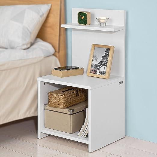 SoBuy® Mesita de noche con 1 compartimiento y 2 estantes, Consola ...