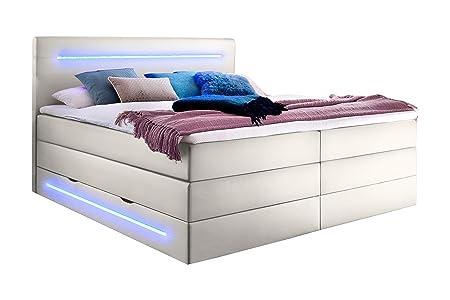 sette notti Boxspringbett mit Bettkasten 180x200 H3 mit LED-Beleuchtung inkl. Topper, Bett Kunstleder Weiß, Liegefläche 180x2