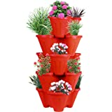 Sharpex Garden Stacking Flower Pot Tower Vertical Plastic Garden Planter Vegetable Flower Strawberry Planter Pot Indoor/Outdoor 5 Tier Gardening Tower for Grow Fresh Herbs