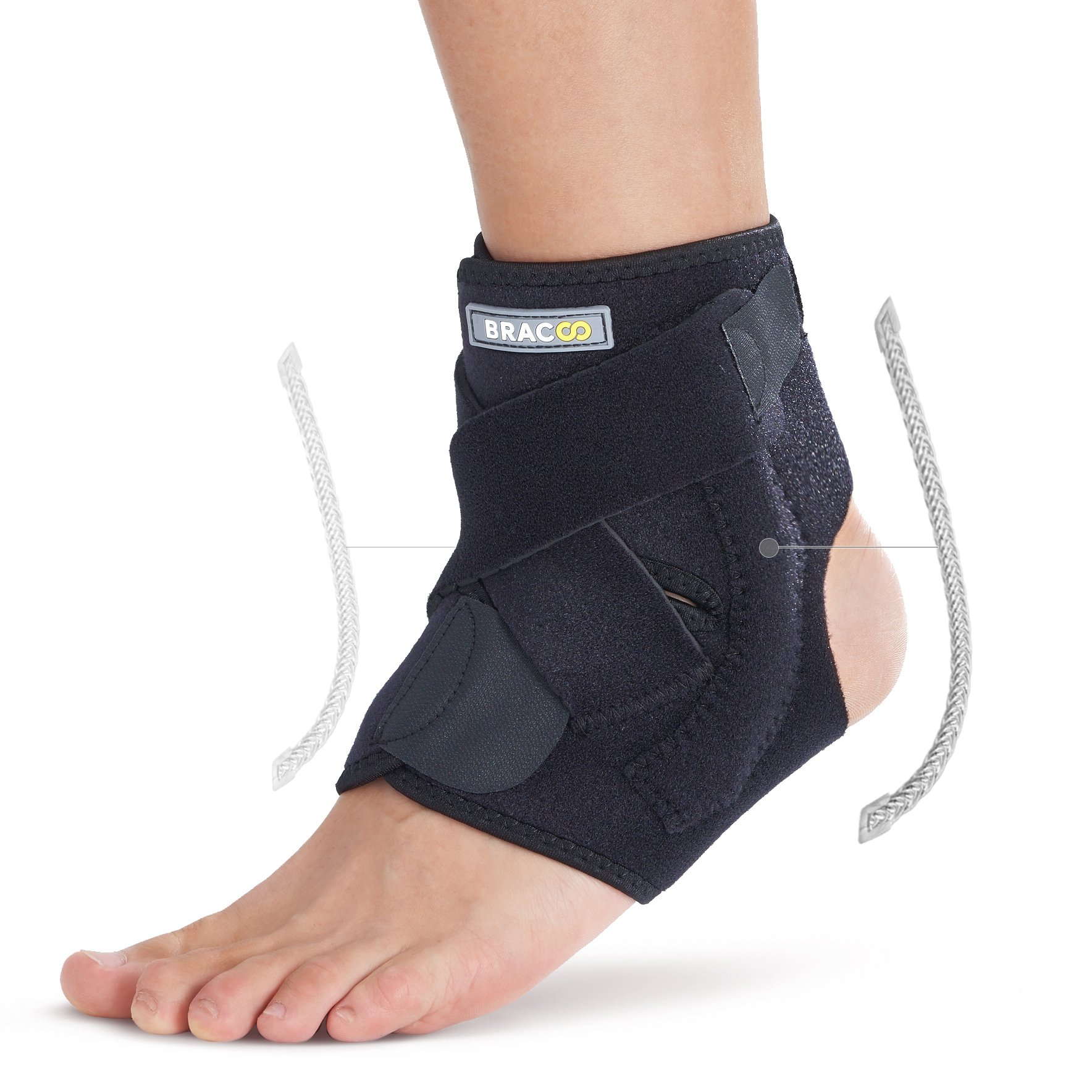 e85ef0216b Bracoo Ankle Brace, Dual Spring Stabilizers, Open-Heel, Adjustable Support  – Dynamic