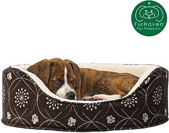 Furhaven Round Oval Cuddler Nest Lounger Pet Bed