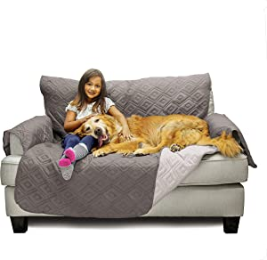 Mary Maxim Furniture Covers - Quilted Couch Slipcover and Furniture Protector for Dogs, Cats, Pets, & Kids - Side Pockets, Elastic Strap & Water Resistant (54