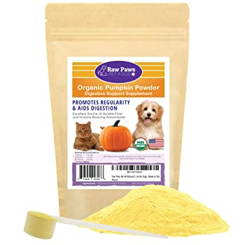 Raw Paws Pet Organic Pure Pumpkin for Dogs & Cats, Powder - Fiber for Dogs - Cat & Dog Digestive Supplement for Healthy Stool, Regularity, Dog Gas Relief & Anti Scoot - Cat & Dog Diarrhea Relief