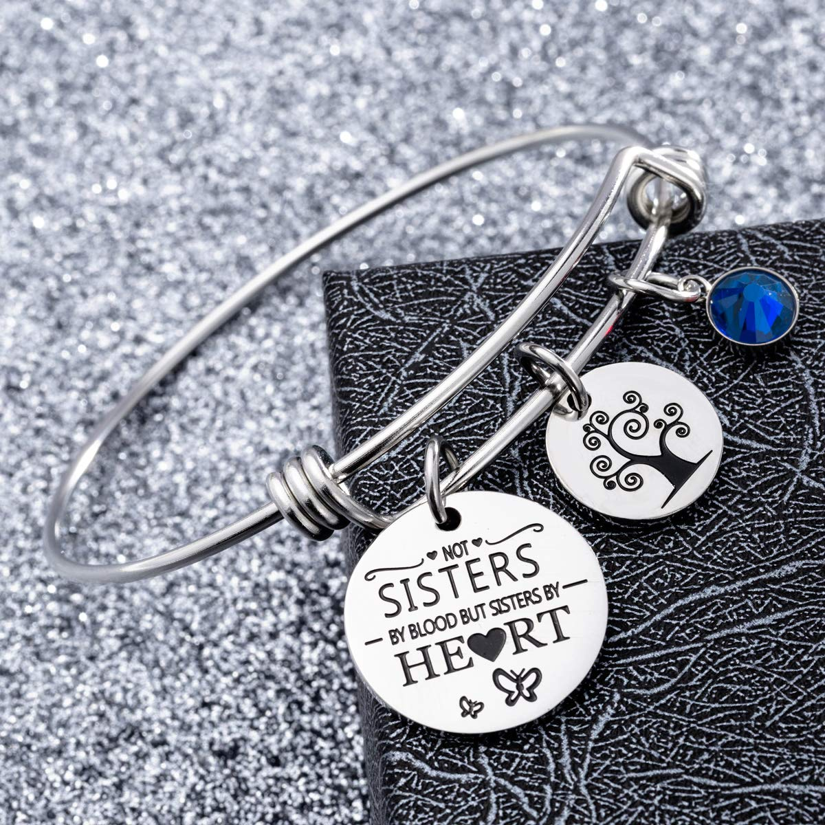 omodofo Best Friends Birthstone Bracelet - Not Sister By Blood But Sister By Heart Friendship Inspirational Charm Cuff Bangle Sister Jewelry Graduation Gifts (September) by omodofo (Image #2)