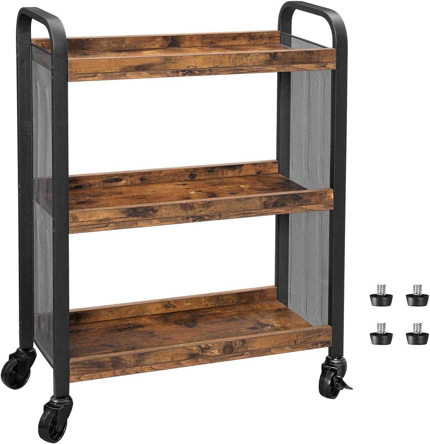 VASAGLE DAINTREE Serving Cart, Slim Kitchen Cart for Narrow Spaces, Rolling Storage Cart and Organizer Utility Cart with Casters Wheels, Easy Assembly, for Kitchen, Bathroom, Rustic Brown ULRC66BX
