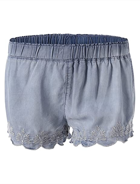 481e66745e Mossimo Women's Soft Scallop Hemmed Shorts at Amazon Women's ...
