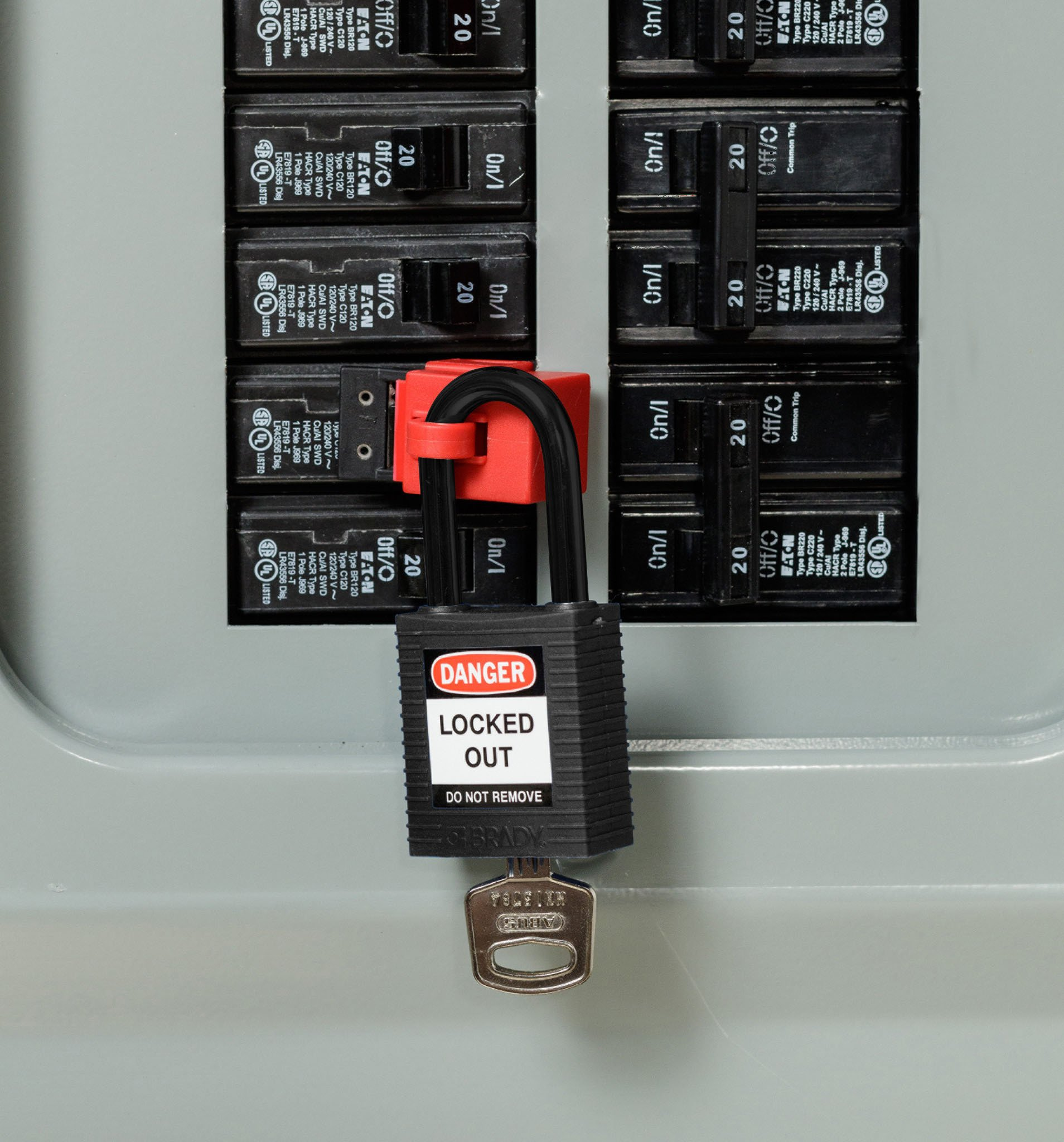 Brady 123347 Black Lockout Padlock, Keyed Alike, Pack of 6 pcs
