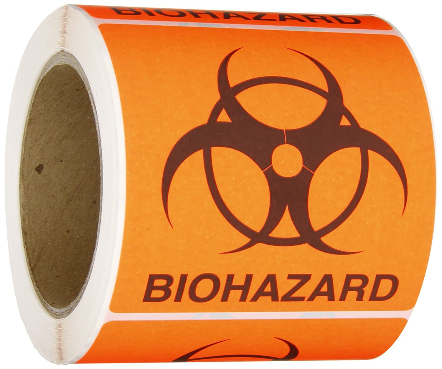 Roll Products 142-0010 Round Cornered Permanent Adhesive Biohazard Warning Label with Black Imprint, Legend 'Biohazard' (with Logo), 4' Length x 4' Width, for Identifying and Marking, Fluorescent Red/Orange (Roll of 250) Legend Biohazard (with Logo) Inc