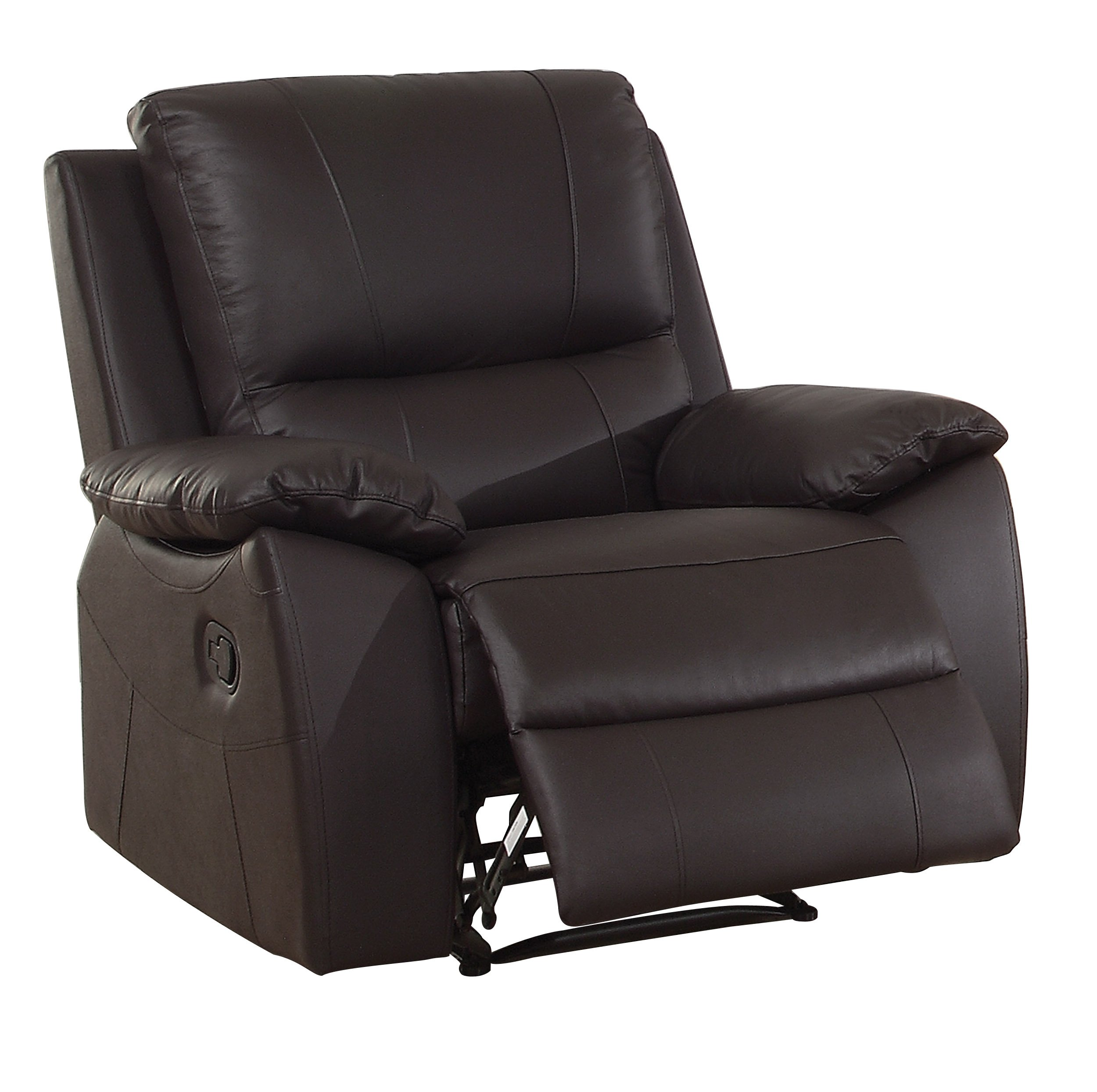 Homelegance Greeley Reclining Chair Top Grain Leather Match, Brown