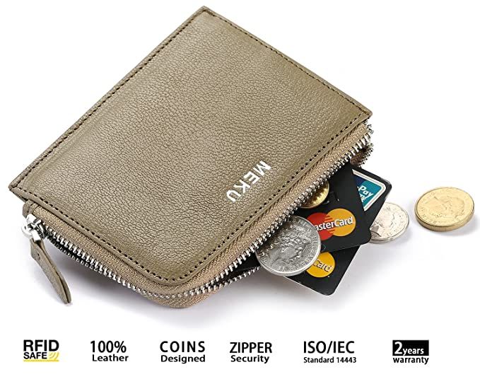 03a89841a97d MEKU RFID Blocking Leather Wallet for Women Ladies with Zipper Purse Coin Business  Card Holder