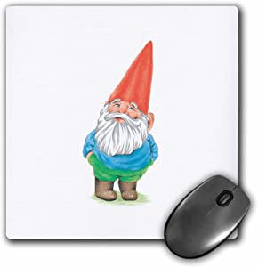 3dRose LLC 8 x 8 x 0.25 Inches Mouse Pad, Gnome Garden Gnome Cartoon Elf (mp_123988_1)
