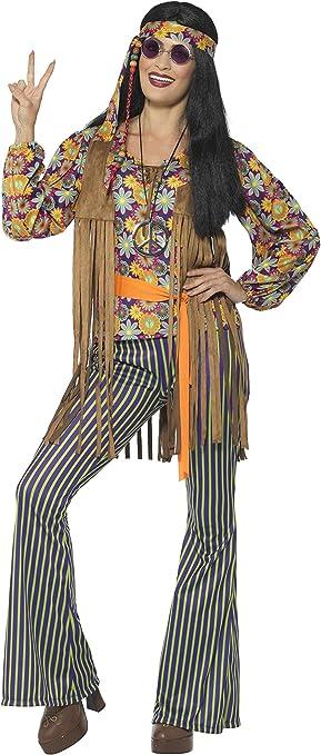 Smiffys-44681S Disfraz de Cantante Hippie años 60, para Mujer, con ...