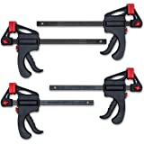 """KOTTO Woodworking Tool F Clamps Set, Heavy Duty Clamps Tool Kit 2 Pack 6"""" and 2 Pack 12"""" Wood Clamps with Storage Bag"""