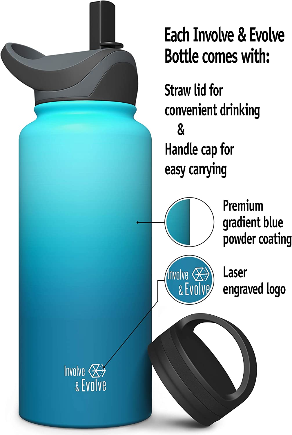 Involve Evolve Insulated Water Bottle With 2 Lids Straw Lid Reusable Double Walled Wide Mouth Stainless Steel Kids Flask Thermos 18oz 24oz 32oz 40oz Sports Outdoors