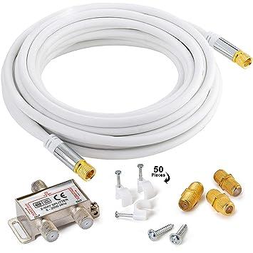 Maximm Cable coaxial Recto a Recto, 20 pies, Blanco, RG6 F ...