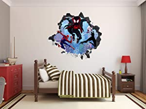 Spiderman Miles Morales Spider Verse Wall Decal 3D Sticker Vinyl Decor Mural Kids g0720 (22
