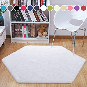 junovo Ultra Soft Rug for Nursery Children Room Baby Room Home Decor Dormitory Hexagon Carpet for Playhouse Princess Tent Kids Play Castle, Diameter 4.6 ft, White