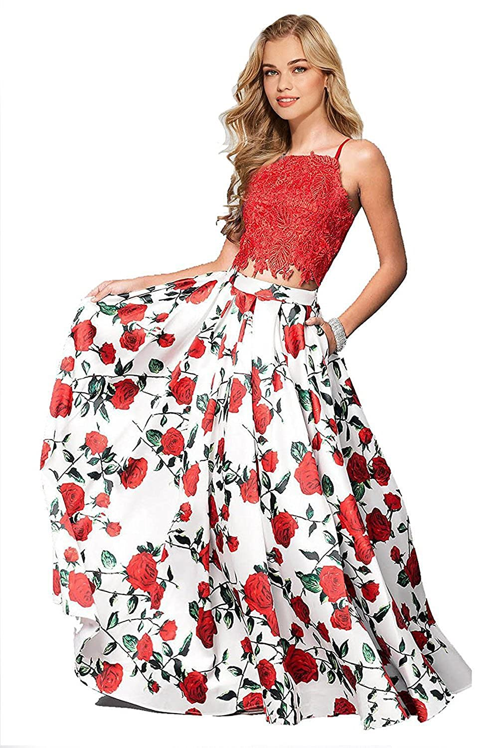 Red Yiweir Women's Two Piece Floral Print Prom Dress Long Formal Evening Gowns YF003