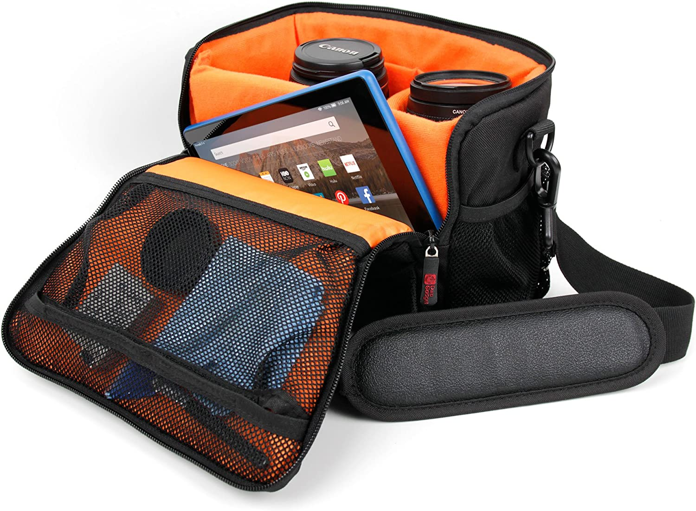 DURAGADGET Black /& Orange Shock-Absorbing /& Water-Resistant Carry Bag Compatible with SENDOW 4K HD