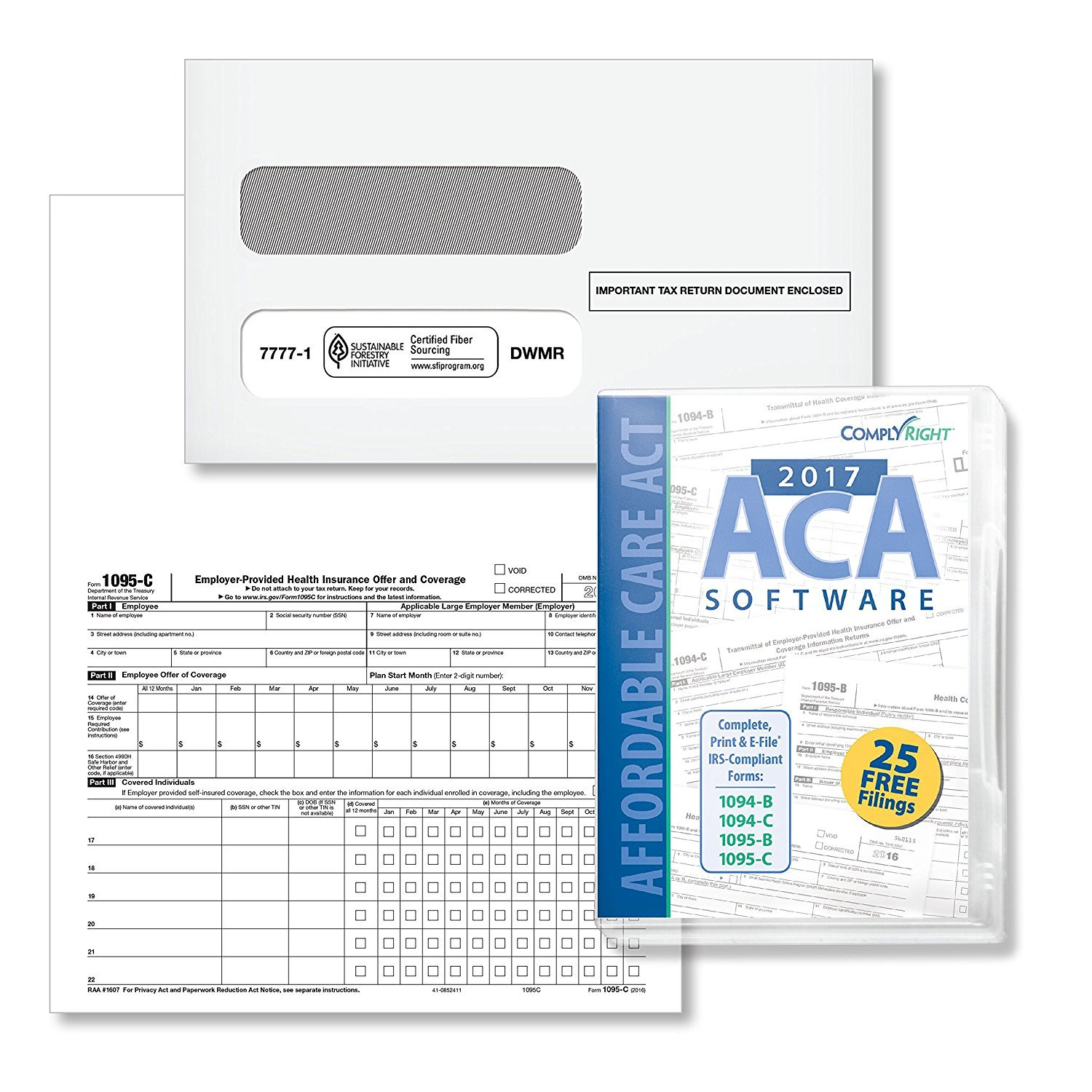 Form 1095-C Health Coverage and Envelopes with ACA Software (Includes 6 1094-B Transmittal Forms), Pack for 100 Employees -2019- by DutyMark