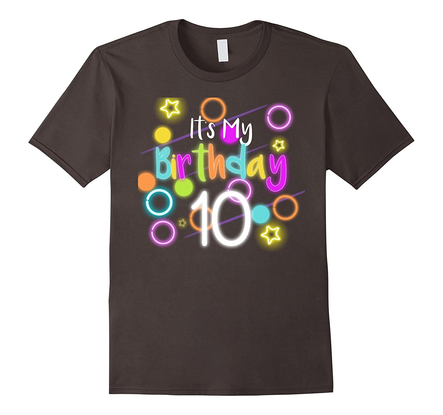 Glow Birthday 10th Neon T-shirt Funny Celebration Kids 80s-TJ