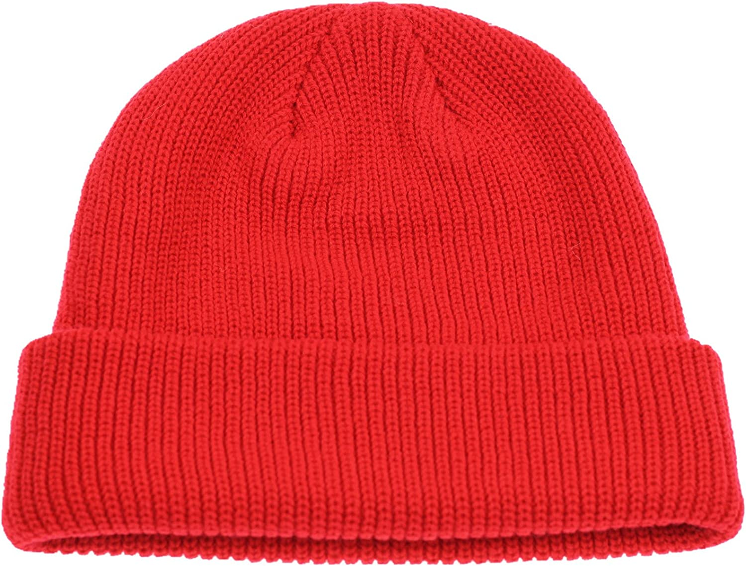 Connectyle Outdoor Classic Bassic Men 's Warm Winter Hats Daily Thick Knit Cuff Beanie Cap Red, 55 60cm: Clothing