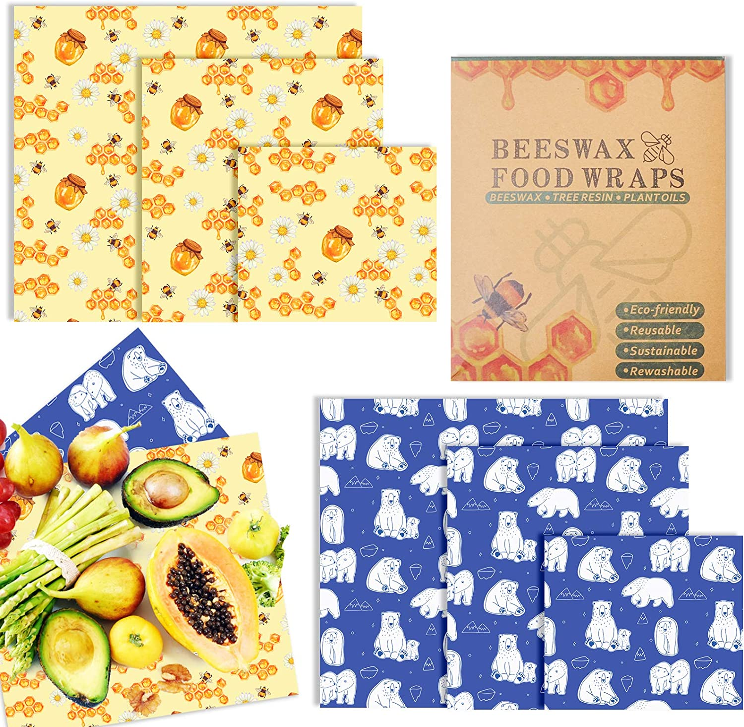 Beeswax Reusable Food Wraps 6 Packs Eco Friendly Reusable Bee Wraps Replacement Organic Wax Wrap for Food Storage, Washable Bowl Cover Sandwich Wrappers in 3 Sizes