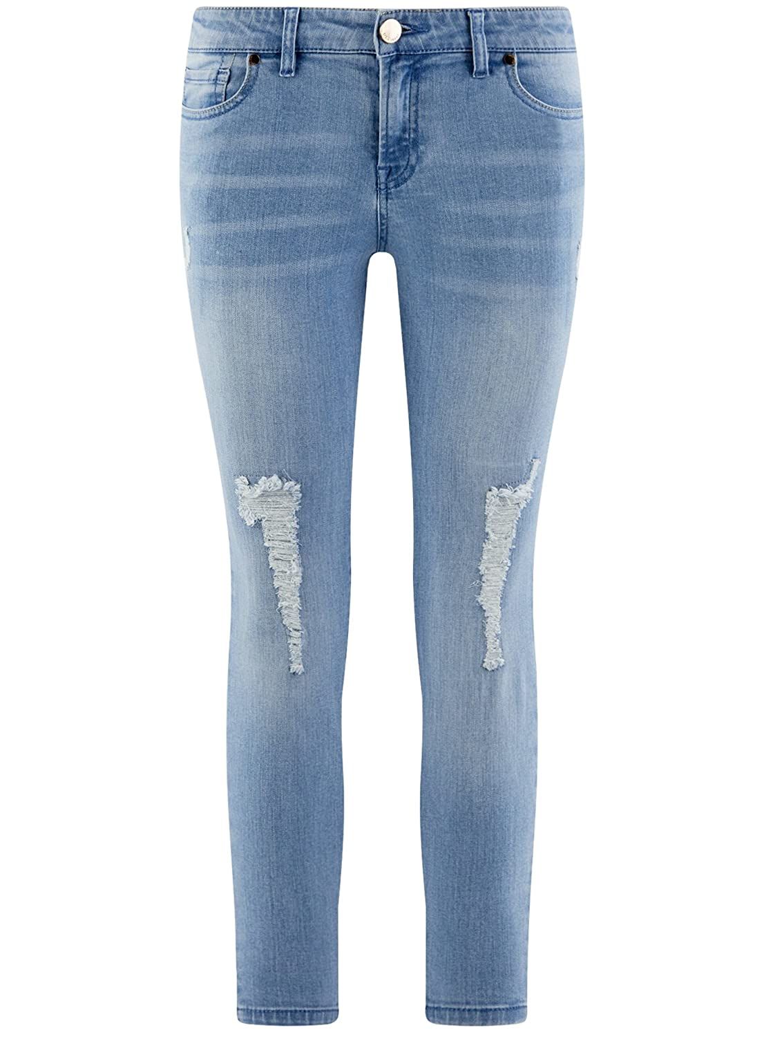 oodji Ultra Womens Cropped Jeans with Decorative Ripped Details