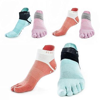 Desconocido Producto Super Agarre Yoga Calcetines – 3 Pack – algodón Activo Toe Calcetines Pilates &