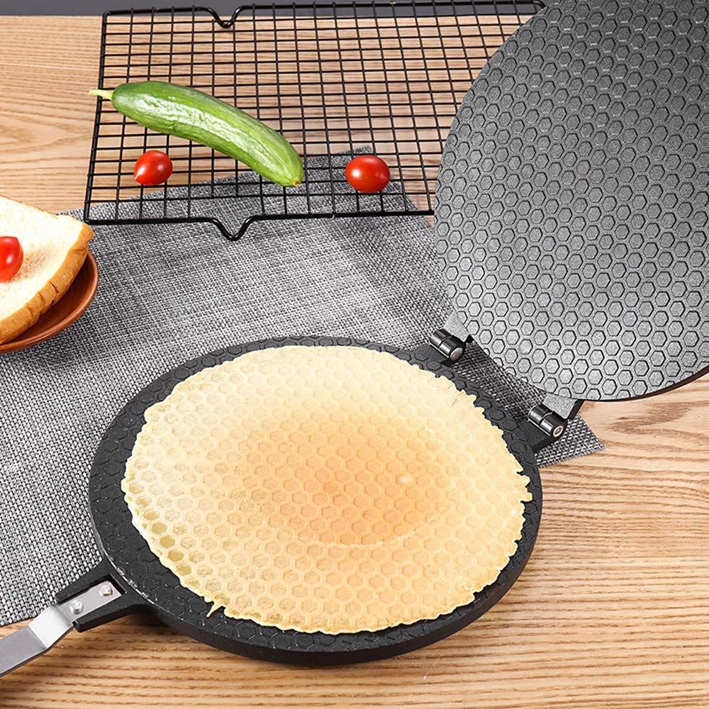 Bac bac 17cm / 22cm non-stick frying pan, round crisp egg omelet mold, egg roll ice cream manufacturing, aluminum baking pan, waffle cake baking pan baking tool Bac bac (Size : 17cm)