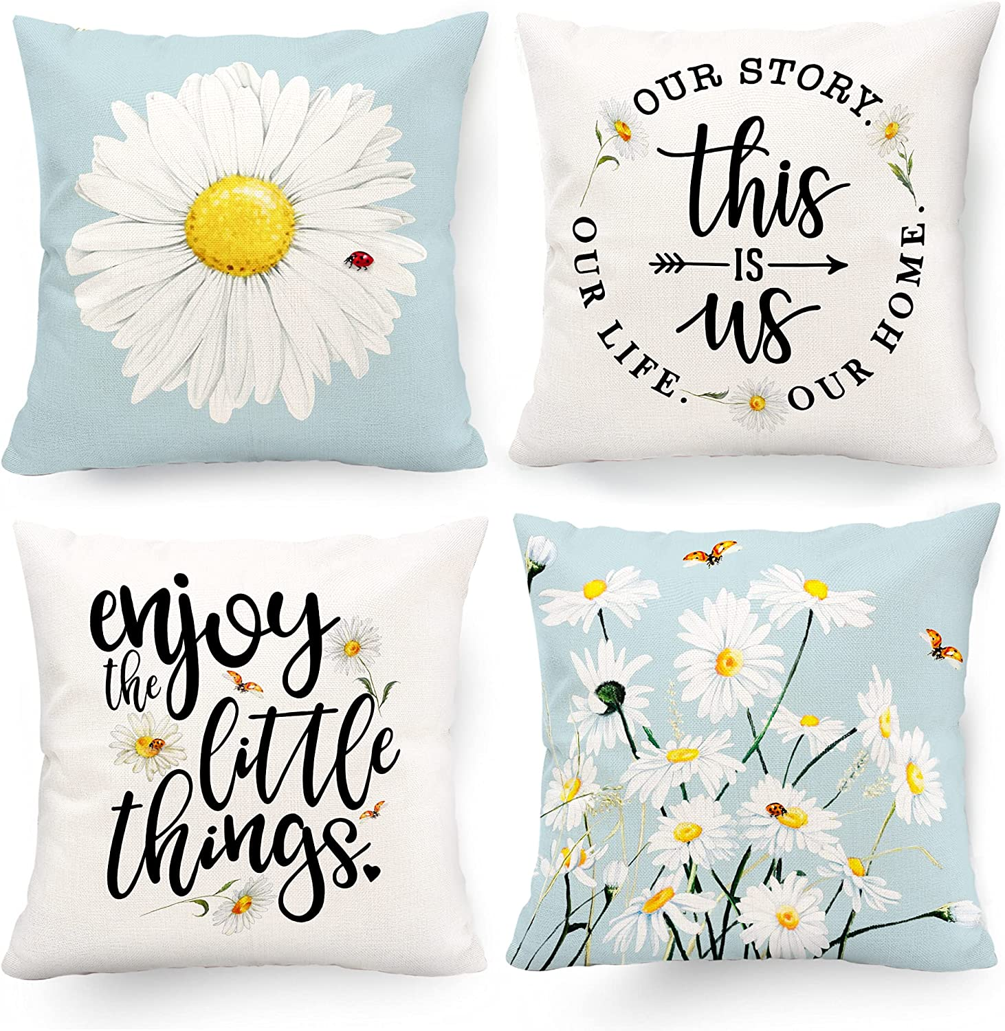 Hexagram Decorative Pillow Covers 18 x 18 Daisy Decor Outdoor Summer Couch Throw Pillow Cover Case Set of 4 Yellow Blue Floral Flower Farmhouse Sunflower Decor for Sofa Living Room Patio Home Decor