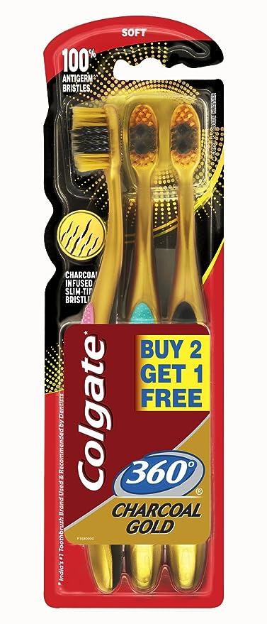 Contactos chapados en oro tacto suave de Colgate paquete de cepillos de dientes 360 de costura