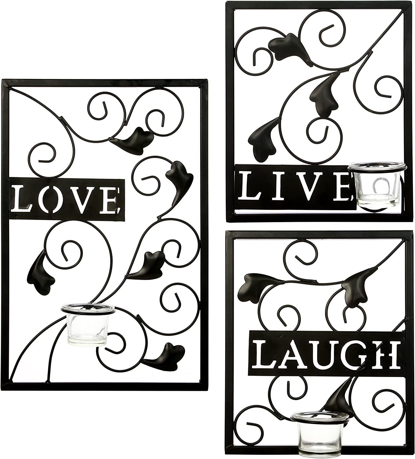 Hosley's Set of 3 Tealight Iron Wall Sconce - Laugh, Love, Live, Dark Brown, Hand Made by Artisans Farmhouse. Ideal Gift for Wedding, Special Occasion, Spa, Tea Light / Votive Candle Gardens O3