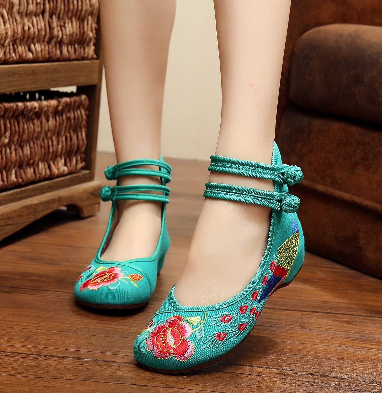Fuxitoggo Bestickte Schuhe Sehnensohle Ethno-Stil weibliche Stoffschuhe Mode bequem lässig lässig lässig innerhalb der Erhöhung grün 35 (Farbe   - Größe   -) c82b49