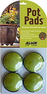 Allsop Home and Garden Pot Pads, Deck and Patio Protection with 3,000 lbs rating, discreet non-skid planter pad lifters/risers/feet/toes, (Lime, Set of four, 1-Count)