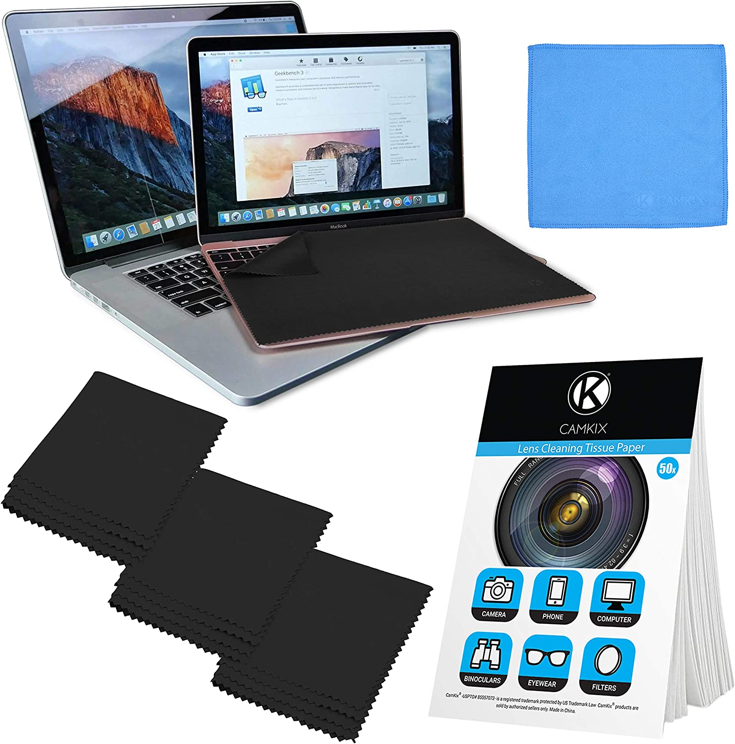 """Camkix Microfiber Cover Cloth Cleaning Set - Compatible with Apple MacBook Pro (15-16"""") - 4x Keyboard Liner Cloth, 1x Double Sided Cloth and 1 x Lens Cleaning Paper Tissue Booklet"""