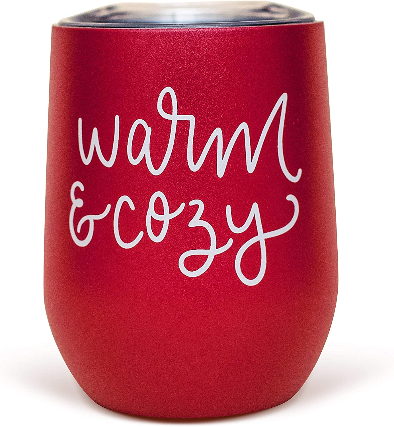 Sweet Water Decor Warm and Cozy Metal Wine Tumbler | 12oz Stainless Steel Insulated Stemless Wine Cup With Lid | Cute Wine Glass with Funny Sayings for Women, Christmas, Holiday, Winter, Xmas