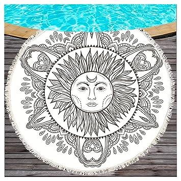 Negro y Blanco Mandala redondas Toalla con borlas Estilo Bohemio sol y luna Totem playa roundie