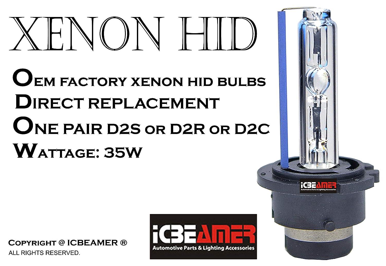 Color: Blue ICBEAMER 10000K D2S D2C D2R Xenon Factory HID Replace Philip Osram OEM Headlight Low Beam Light Bulbs Lamp