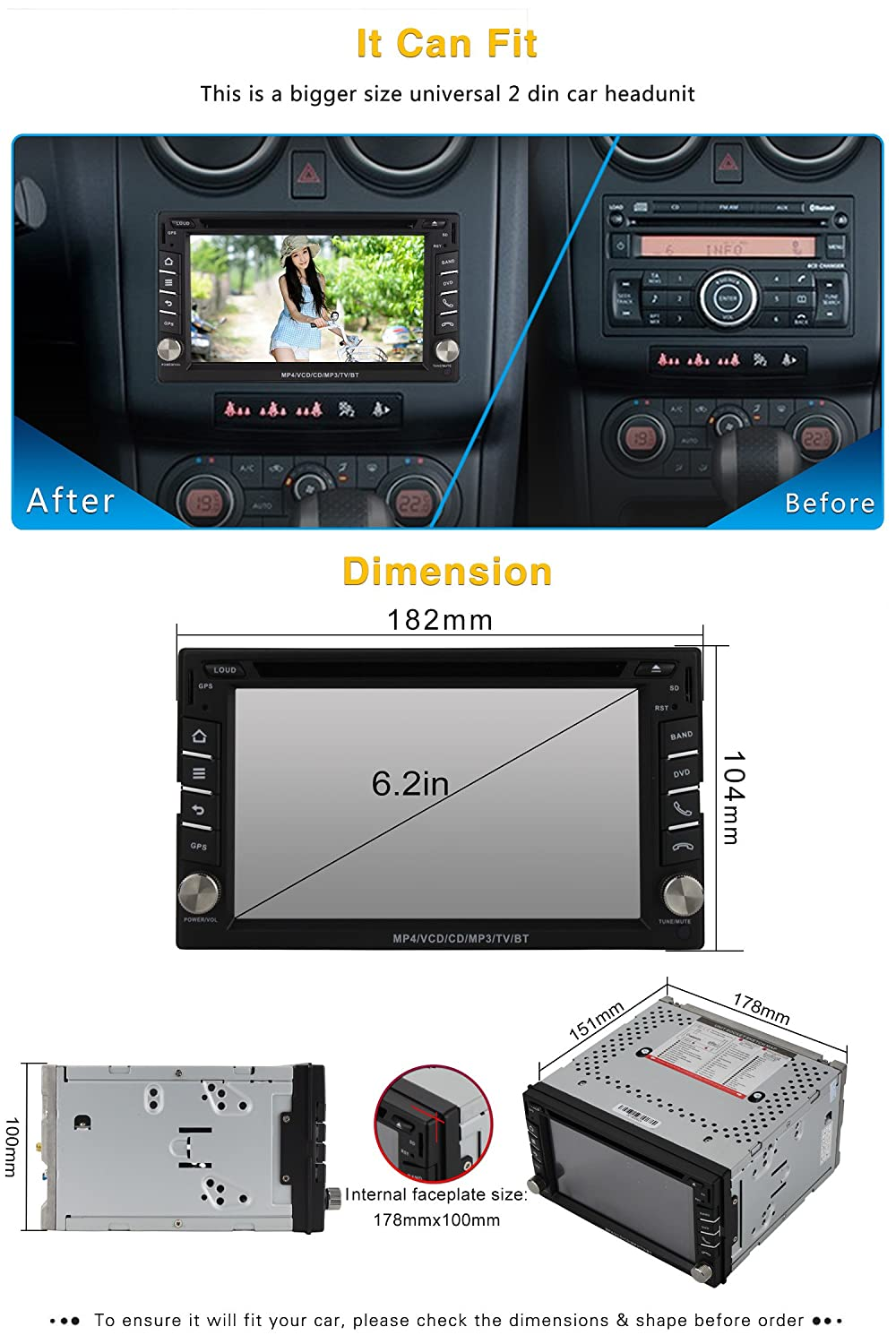Volsmart Quad Core Android 51 Car Stereo Double Din Dvd 2007 Dodge Ram Amplifier Radio C1 20 Way Connector Pin Outs Gps Support Mirror Link Obd2 Free Map Camera Electronics