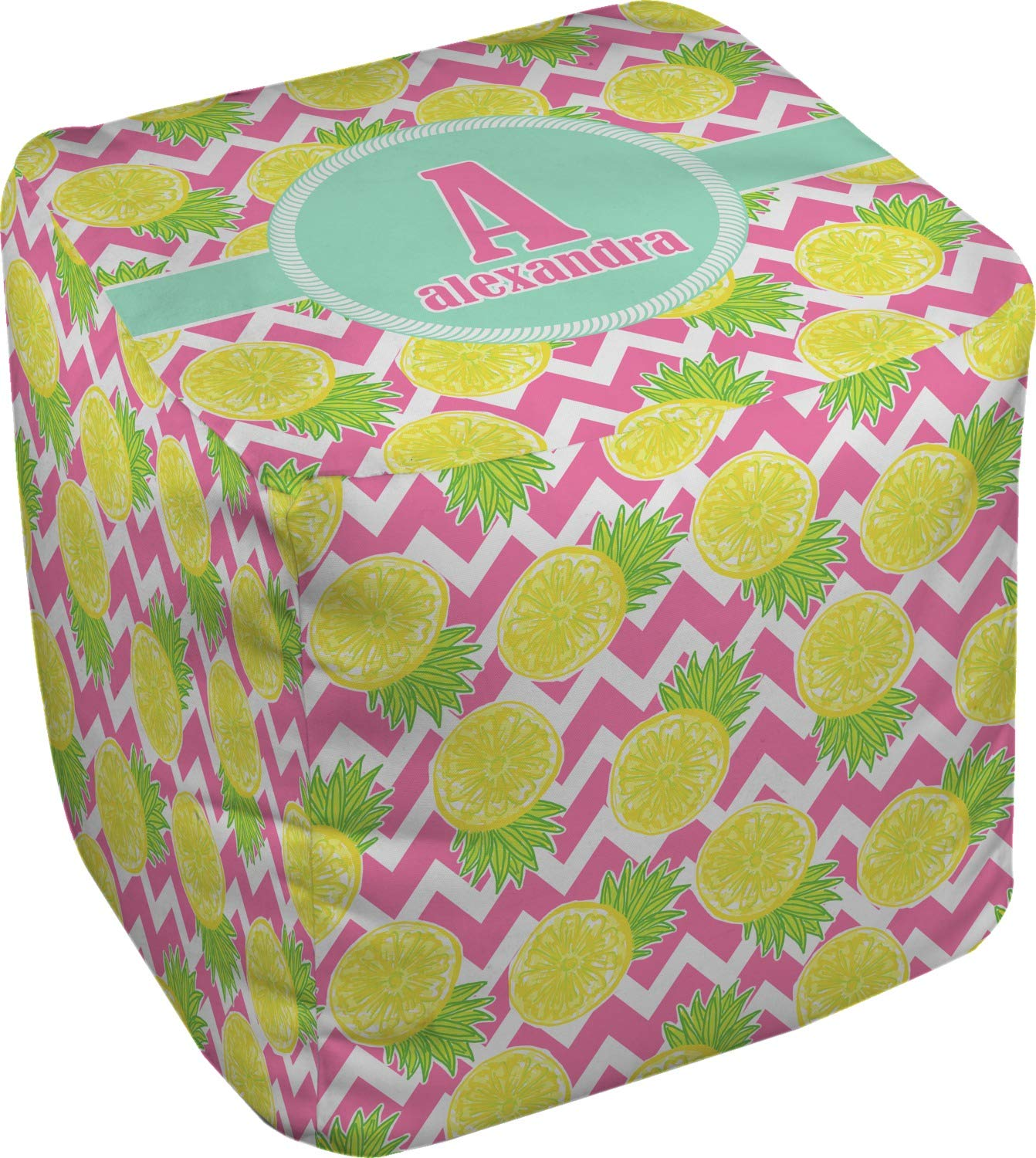 RNK Shops Pineapples Cube Pouf Ottoman - 13'' (Personalized)