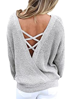 Asvivid Women s Long Sleeve Criss Cross Backless Casual Loose Knit Pullover  Sweaters ... 354a5e375