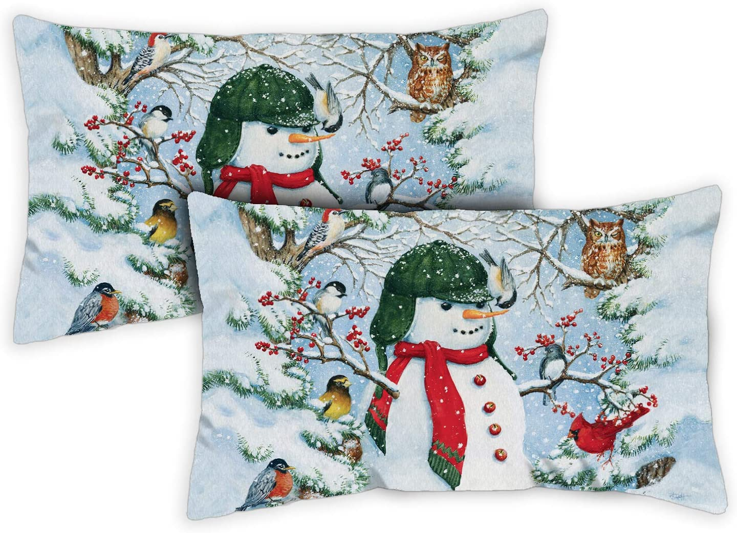 Toland Home Garden Woodland Snowman 12 x 19 Inch Decorative Indoor Pillow Case Only (2-Pack)